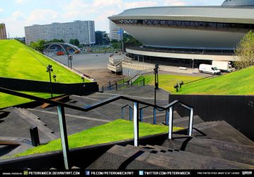 Free Stock City Scape Buildings UFO Grass Stairs by PeterKmiecik