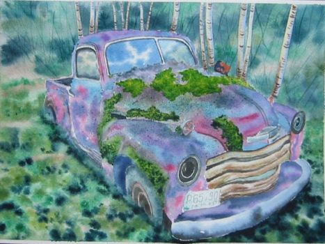 18. Isolated Car with Moss by Masasasaki