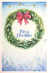 Christmas card: mistletoe garland