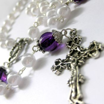 Purple, Pearl n Silver Rosary by Gilliauna