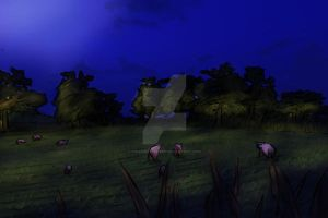 Farm at night by TifaFinsterherz