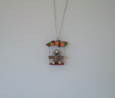 Sloth on a swing necklace by MariC217