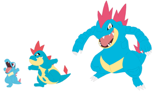Totodile, Croconaw and Feraligatr Base by SelenaEde