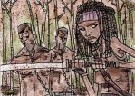 Michonne and the Zombie Twins by SpencerPlatt