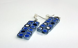 Handmade Blue Polymer Clay Earrings by Hrasulee by Hrasulee