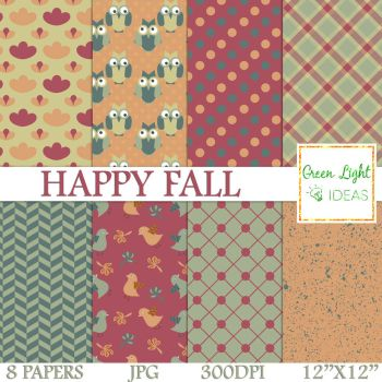 Free Happy Fall Digital Papers by GreenLightIdeasGLI