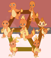 Hexafusion with Charmander Torchic and Chimchar