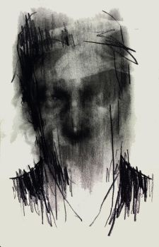 (D66) untitled conte on paper 23.8 x 15.4 cm 2 by ShinKwangHo