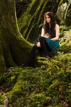 Brunette in woodland stock by A68Stock