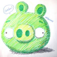 Colour pens green pig by RiverKpocc