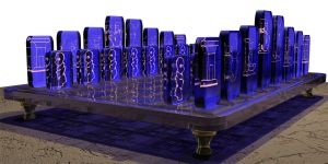 Egyptian Chess Set - Side View by Zayfod