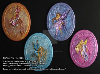 Seasons fairies - metal emboss by Rubenandres77