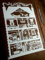 House - handdrawn and cut from a sheet of A3 paper by PaperPandaCuts