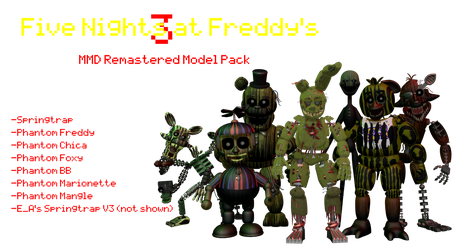 MMD- FNaF 3 Pack Remastered (DL) by OscartheChinchilla