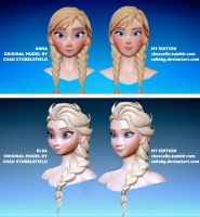 Frozen: Anna and Elsa models redesign by cellebg