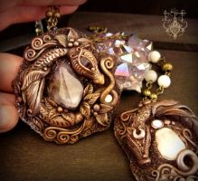 Amethyst and Moonstone (adularia) Dragons by EnchantedTokenArt