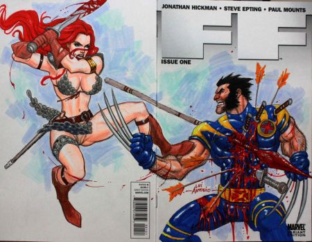 Red Sonja Vs Wolverine Commission by stompboxxx