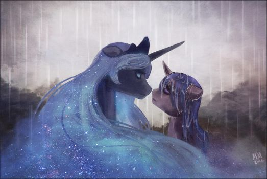 in the rain by CosmicUnicorn