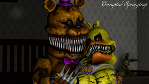 Nightmare Couple (N.Fredbear x N.Chica) [Request] by CorruptedSpringtrap