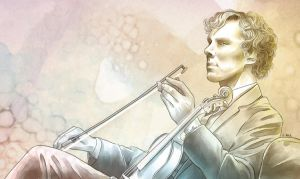 Sherlock and his violin by AzurLazuly