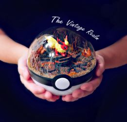 Poke Ball Terrarium - Flareon Lava Pit by TheVintageRealm
