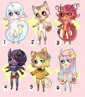 cute Anthro batch1 OPEN! (3/6) lowered price! by Toki-Doki-Adoptables