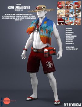 McCree Lifeguard Outfit for Genesis 3 Male by Mo0nX