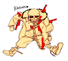 Underfell SANS and knives by hobakamuk