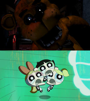 PPG 2016 freaked out at Freddy Fazbear by BeeWinter55