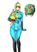 Zero suit samus and pikachu by buuzen