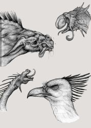 Assorted Creature Noggins 2 by EvilSaintGood