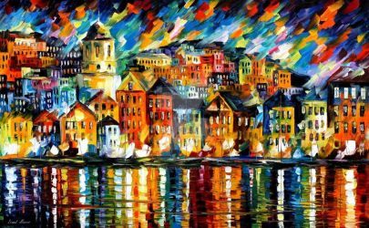 Greece - Harbor by Leonid Afremov by Leonidafremov