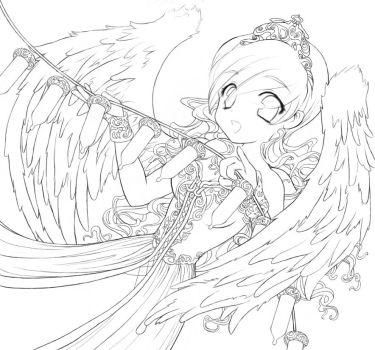 Decorating Angel Lineart by DestinyBlue