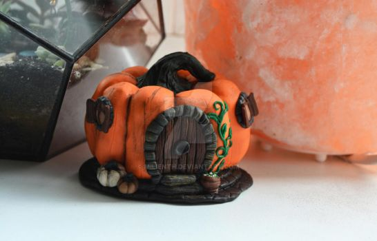 Halloween Pumpkin fairy house, Fall terrarium by MilienTH
