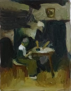 Study after Neuhuys' Interior with Woman and Child by sergey-ptica