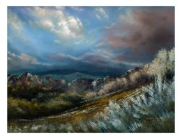 Early Winter Mountain Landscape Oil Painting by MarinaPacurar