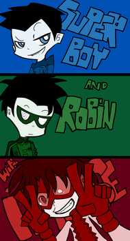 Superboy and Robin + Impulse by grimandsmiles