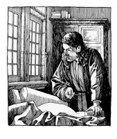 Vermeer's The Geographer (ink study) by outsidelogic