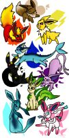 Pokemon Eeveelutions by SaintsSister47