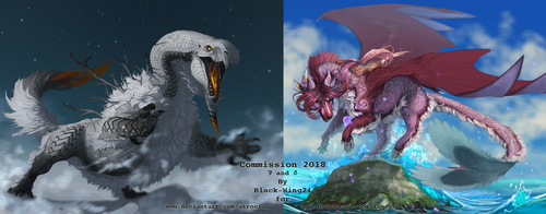 2018 Commissions 7 and 8 by Black-Wing24