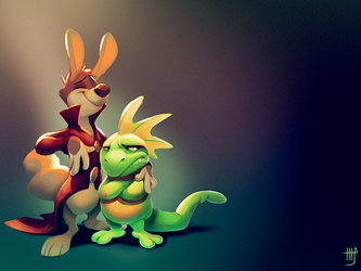 Bunny and Lizard by VixieArts