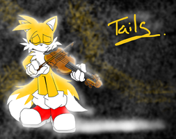 tails playing a violin by zhenghwang