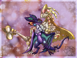 Livian and Alemana, bright star and golden knight by tigersylveon