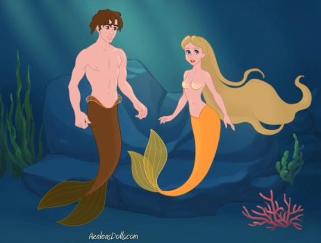 Adam and Eve as Mermaids by theflutefairy12345