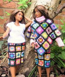 1:6th scale patchwork skirts and poncho by buttercupminiatures