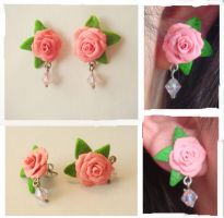 Pink Rose Stud Earrings by KittyAzura