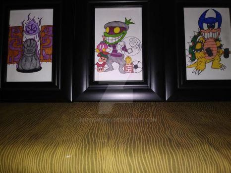 Framed Superstar Saga drawings by Anthony598