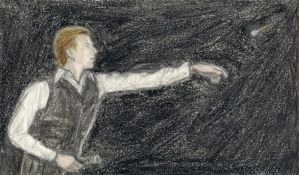 Thin White Duke throwing darts by gagambo