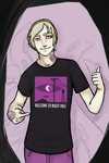 Lennox in a Night Vale t-shirt by Qu-Ross