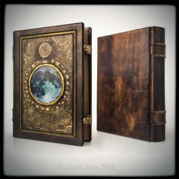 Full Moon 11 x 14 inches large leather journal.. by alexlibris999